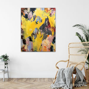 "Abstract expressionist art with a relaxing armchair- modern artwork ""Flashlight"". A modern acrylic painting by abstract artist Anja Stemmer. Visit my Picture Shop for affordable art online: Buy abstract paintings, modern acrylic paintings and works of abstract art on canvas or paper online. My high quality abstract art designs are hand painted."
