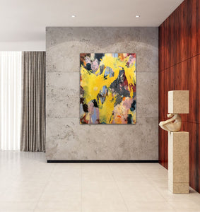"Abstract expressionist art in a lobby or foyer of an office building- modern artwork ""Flashlight"". A modern acrylic painting by abstract artist Anja Stemmer. Visit my Picture Shop for affordable art online: Buy abstract paintings, modern acrylic paintings and works of abstract art on canvas or paper online. My high quality abstract art designs are hand painted."