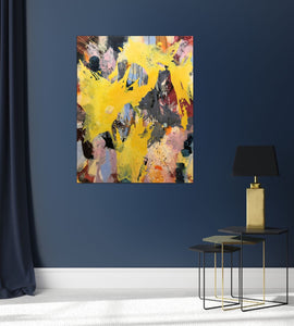 "Abstract expressionist art on a dark blue colored wall - modern artwork ""Flashlight"". A modern acrylic painting by abstract artist Anja Stemmer. Visit my Picture Shop for affordable art online: Buy abstract paintings, modern acrylic paintings and works of abstract art on canvas or paper online. My high quality abstract art designs are hand painted."