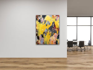 "Abstract expressionist art in a design office interior - modern artwork ""Flashlight"". A modern acrylic painting by abstract artist Anja Stemmer. Visit my Picture Shop for affordable art online: Buy abstract paintings, modern acrylic paintings and works of abstract art on canvas or paper online. My high quality abstract art designs are hand painted."