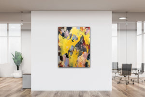 "Abstract expressionist art at the entrance of a design office - modern artwork ""Flashlight"". A modern acrylic painting by abstract artist Anja Stemmer. Visit my Picture Shop for affordable art online: Buy abstract paintings, modern acrylic paintings and works of abstract art on canvas or paper online. My high quality abstract art designs are hand painted."