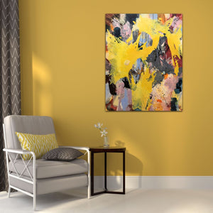 "Abstract expressionist art on a yellow colored wall with an armchair and sidetable - modern artwork ""Flashlight"". A modern acrylic painting by abstract artist Anja Stemmer. Visit my Picture Shop for affordable art online: Buy abstract paintings, modern acrylic paintings and works of abstract art on canvas or paper online. My high quality abstract art designs are hand painted."