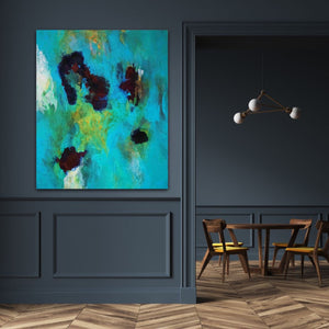 "Abstract expressionist art in a vintage style interoir design with dark blue colored walls- modern artwork  ""Nautilus"". A modern acrylic painting by abstract artist Anja Stemmer. Visit my Picture Shop for affordable art online: Buy abstract paintings, modern acrylic paintings and works of abstract art on canvas or paper online. My high quality abstract art designs are hand painted."
