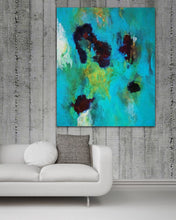 "Load image into Gallery viewer, Abstract expressionist art on a concrete wall with a contemporary sofa in white leather - modern artwork  ""Nautilus"". A modern acrylic painting by abstract artist Anja Stemmer. Visit my Picture Shop for affordable art online: Buy abstract paintings, modern acrylic paintings and works of abstract art on canvas or paper online. My high quality abstract art designs are hand painted."