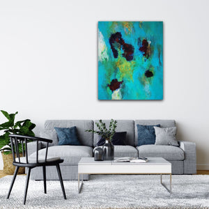 "Abstract expressionist art over a grey sofa in a modern contemporary living room - modern artwork  ""Nautilus"". A modern acrylic painting by abstract artist Anja Stemmer. Visit my Picture Shop for affordable art online: Buy abstract paintings, modern acrylic paintings and works of abstract art on canvas or paper online. My high quality abstract art designs are hand painted."