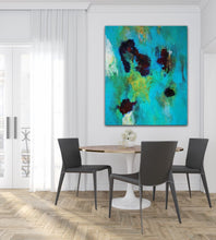 "Load image into Gallery viewer, Abstract expressionist art in a contemporary dining room with black chairs- modern artwork  ""Nautilus"". A modern acrylic painting by abstract artist Anja Stemmer. Visit my Picture Shop for affordable art online: Buy abstract paintings, modern acrylic paintings and works of abstract art on canvas or paper online. My high quality abstract art designs are hand painted."