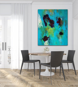 "Abstract expressionist art in a contemporary dining room with black chairs- modern artwork  ""Nautilus"". A modern acrylic painting by abstract artist Anja Stemmer. Visit my Picture Shop for affordable art online: Buy abstract paintings, modern acrylic paintings and works of abstract art on canvas or paper online. My high quality abstract art designs are hand painted."