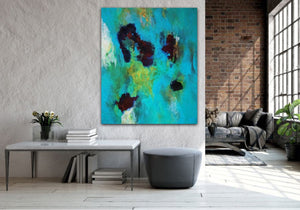 "Abstract expressionist art and loft living interior design style with brick wall - modern artwork  ""Nautilus"". A modern acrylic painting by abstract artist Anja Stemmer. Visit my Picture Shop for affordable art online: Buy abstract paintings, modern acrylic paintings and works of abstract art on canvas or paper online. My high quality abstract art designs are hand painted."