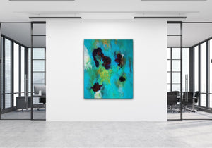 "Abstract expressionist art in the hall of a design office- modern artwork  ""Nautilus"". A modern acrylic painting by abstract artist Anja Stemmer. Visit my Picture Shop for affordable art online: Buy abstract paintings, modern acrylic paintings and works of abstract art on canvas or paper online. My high quality abstract art designs are hand painted."