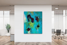 "Load image into Gallery viewer, Abstract expressionist art in a contemporary design office space- modern artwork  ""Nautilus"". A modern acrylic painting by abstract artist Anja Stemmer. Visit my Picture Shop for affordable art online: Buy abstract paintings, modern acrylic paintings and works of abstract art on canvas or paper online. My high quality abstract art designs are hand painted."