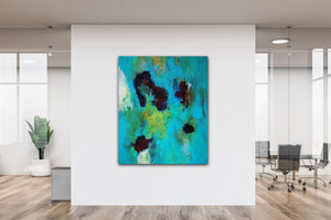 "Abstract expressionist art in a contemporary design office space- modern artwork  ""Nautilus"". A modern acrylic painting by abstract artist Anja Stemmer. Visit my Picture Shop for affordable art online: Buy abstract paintings, modern acrylic paintings and works of abstract art on canvas or paper online. My high quality abstract art designs are hand painted."