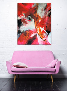 "Large abstract expressionist art over a pink sofa - envy art! - modern artwork ""El Toro"". A modern acrylic painting by abstract artist Anja Stemmer. Visit my Picture Shop for affordable art online: Buy abstract paintings, modern acrylic paintings and works of abstract art on canvas or paper online. My high quality abstract art designs are hand painted."