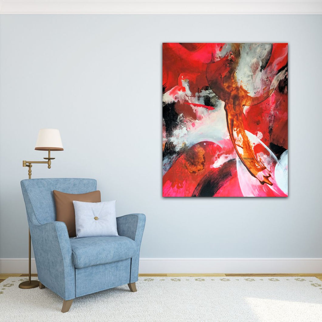 Abstract expressionist art on a light blue colored wall with a blue armchair- modern artwork.
