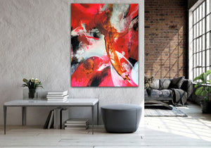 "Large and colorful abstract expressionist art in a loft living style living room- modern artwork ""El Toro"". A modern acrylic painting by abstract artist Anja Stemmer. Visit my Picture Shop for affordable art online: Buy abstract paintings, modern acrylic paintings and works of abstract art on canvas or paper online. My high quality abstract art designs are hand painted."
