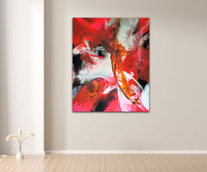 "Large abstract expressionist art  in a entrance hall- modern artwork ""El Toro"". A modern acrylic painting by abstract artist Anja Stemmer. Visit my Picture Shop for affordable art online: Buy abstract paintings, modern acrylic paintings and works of abstract art on canvas or paper online. My high quality abstract art designs are hand painted."