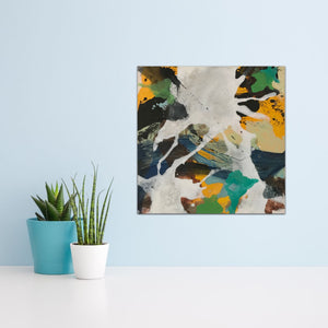 "Abstract expressionist art on a light blue wall with succulents- modern artwork ""Hidden"". A modern acrylic painting by abstract artist Anja Stemmer. Visit my Picture Shop for affordable art online: Buy abstract paintings, modern acrylic paintings and works of abstract art on canvas or paper online. My high quality abstract art designs are hand painted."