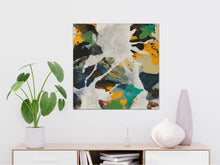 "Load image into Gallery viewer, Abstract expressionist art over a modern white sideboard- modern artwork ""Hidden"". A modern acrylic painting by abstract artist Anja Stemmer. Visit my Picture Shop for affordable art online: Buy abstract paintings, modern acrylic paintings and works of abstract art on canvas or paper online. My high quality abstract art designs are hand painted."