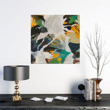 "Load image into Gallery viewer, Abstract expressionist art in home decor setting with a lamp, twig and notepad- modern artwork ""Hidden"". A modern acrylic painting by abstract artist Anja Stemmer. Visit my Picture Shop for affordable art online: Buy abstract paintings, modern acrylic paintings and works of abstract art on canvas or paper online. My high quality abstract art designs are hand painted."