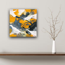 "Load image into Gallery viewer, Abstract expressionist art over a wooden board and with a vase and twig - modern artwork ""Stormy"". A modern acrylic painting by abstract artist Anja Stemmer. Visit my Picture Shop for affordable art online: Buy abstract paintings, modern acrylic paintings and works of abstract art on canvas or paper online. My high quality abstract art designs are hand painted."