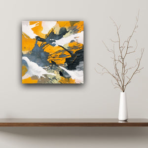"Abstract expressionist art over a wooden board and with a vase and twig - modern artwork ""Stormy"". A modern acrylic painting by abstract artist Anja Stemmer. Visit my Picture Shop for affordable art online: Buy abstract paintings, modern acrylic paintings and works of abstract art on canvas or paper online. My high quality abstract art designs are hand painted."