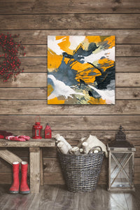 "Abstract expressionist art in a rustic interior with wooden wall and Christmas interior decoration - modern artwork ""Stormy"". A modern acrylic painting by abstract artist Anja Stemmer. Visit my Picture Shop for affordable art online: Buy abstract paintings, modern acrylic paintings and works of abstract art on canvas or paper online. My high quality abstract art designs are hand painted."