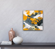 "Load image into Gallery viewer, Abstract expressionist art on a light grey colored wall- modern artwork ""Stormy"". A modern acrylic painting by abstract artist Anja Stemmer. Visit my Picture Shop for affordable art online: Buy abstract paintings, modern acrylic paintings and works of abstract art on canvas or paper online. My high quality abstract art designs are hand painted."