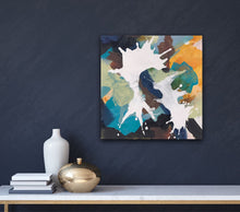 "Load image into Gallery viewer, Abstract expressionist art on a dark blue colored wall- modern artwork ""In Twos"". A modern acrylic painting by abstract artist Anja Stemmer. Visit my Picture Shop for affordable art online: Buy abstract paintings, modern acrylic paintings and works of abstract art on canvas or paper online. My high quality abstract art designs are hand painted."