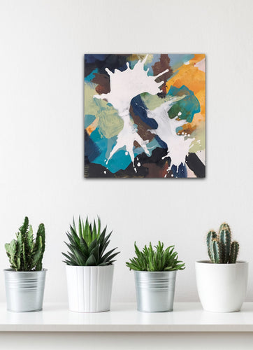 Abstract expressionist art on a wall with succulents and pot plants- modern artwork