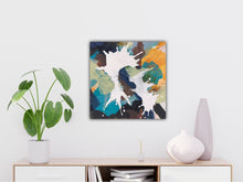 "Load image into Gallery viewer, Abstract expressionist art over a modern sideboard with a plant- modern artwork ""In Twos"". A modern acrylic painting by abstract artist Anja Stemmer. Visit my Picture Shop for affordable art online: Buy abstract paintings, modern acrylic paintings and works of abstract art on canvas or paper online. My high quality abstract art designs are hand painted."