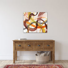 "Load image into Gallery viewer, Abstract expressionist art over wooden sideboard  - modern artwork ""Loft VIII"". A modern acrylic painting by abstract artist Anja Stemmer. Visit my Picture Shop for affordable art online: Buy abstract paintings, modern acrylic paintings and works of abstract art on canvas or paper online. My high quality abstract art designs are hand painted."
