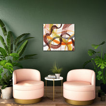 "Load image into Gallery viewer, Abstract expressionist art on a dark green colored wall with rosé fauteuils- modern artwork ""Loft VIII"". A modern acrylic painting by abstract artist Anja Stemmer. Visit my Picture Shop for affordable art online: Buy abstract paintings, modern acrylic paintings and works of abstract art on canvas or paper online. My high quality abstract art designs are hand painted."