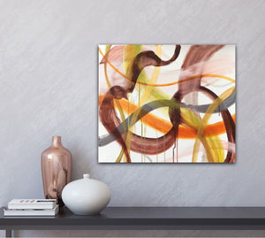 "Abstract expressionist art with home decor accessories on a light grey colored wall- modern artwork ""Loft VIII"". A modern acrylic painting by abstract artist Anja Stemmer. Visit my Picture Shop for affordable art online: Buy abstract paintings, modern acrylic paintings and works of abstract art on canvas or paper online. My high quality abstract art designs are hand painted."