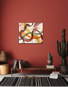 "Abstract expressionist art on a dark red colored wall in a Mexican style interior  - modern artwork ""Loft VIII"". A modern acrylic painting by abstract artist Anja Stemmer. Visit my Picture Shop for affordable art online: Buy abstract paintings, modern acrylic paintings and works of abstract art on canvas or paper online. My high quality abstract art designs are hand painted."