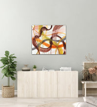 "Load image into Gallery viewer, Abstract expressionist art over sideboard - modern artwork ""Loft VIII"". A modern acrylic painting by abstract artist Anja Stemmer. Visit my Picture Shop for affordable art online: Buy abstract paintings, modern acrylic paintings and works of abstract art on canvas or paper online. My high quality abstract art designs are hand painted."