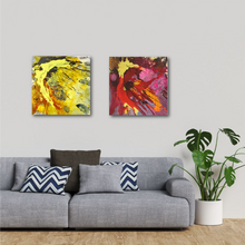 "Load image into Gallery viewer, Abstract expressionist art over a modern grey sofa - modern artwork ""Upsurge and Skyfall"" A modern acrylic painting by abstract artist Anja Stemmer. Visit my Picture Shop for affordable art online: Buy abstract paintings, modern acrylic paintings and works of abstract art on canvas or paper online. My high quality abstract art designs are hand painted."