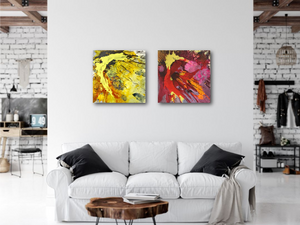 "Abstract expressionist art in a kitchen and living room setting - modern artwork ""Upsurge and Skyfall"" A modern acrylic painting by abstract artist Anja Stemmer. Visit my Picture Shop for affordable art online: Buy abstract paintings, modern acrylic paintings and works of abstract art on canvas or paper online. My high quality abstract art designs are hand painted."