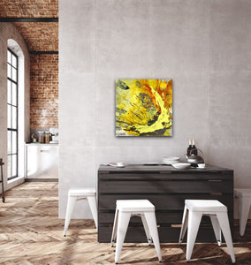 "Abstract expressionist art in loft living dining room - modern artwork ""Skyfall"". A modern acrylic painting by abstract artist Anja Stemmer. Visit my Picture Shop for affordable art online: Buy abstract paintings, modern acrylic paintings and works of abstract art on canvas or paper online. My high quality abstract art designs are hand painted."