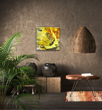 "Lade das Bild in den Galerie-Viewer, Abstract expressionist art on a brown colored wall in jungle book style living room  - modern artwork ""Skyfall"". A modern acrylic painting by abstract artist Anja Stemmer. Visit my Picture Shop for affordable art online: Buy abstract paintings, modern acrylic paintings and works of abstract art on canvas or paper online. My high quality abstract art designs are hand painted."