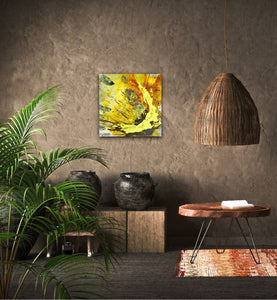 "Abstract expressionist art on a brown colored wall in jungle book style living room  - modern artwork ""Skyfall"". A modern acrylic painting by abstract artist Anja Stemmer. Visit my Picture Shop for affordable art online: Buy abstract paintings, modern acrylic paintings and works of abstract art on canvas or paper online. My high quality abstract art designs are hand painted."