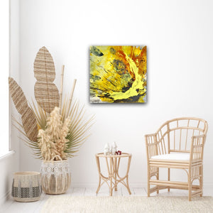 "Abstract expressionist art in a relaxation room with rattan furniture  - modern artwork ""Skyfall"". A modern acrylic painting by abstract artist Anja Stemmer. Visit my Picture Shop for affordable art online: Buy abstract paintings, modern acrylic paintings and works of abstract art on canvas or paper online. My high quality abstract art designs are hand painted."