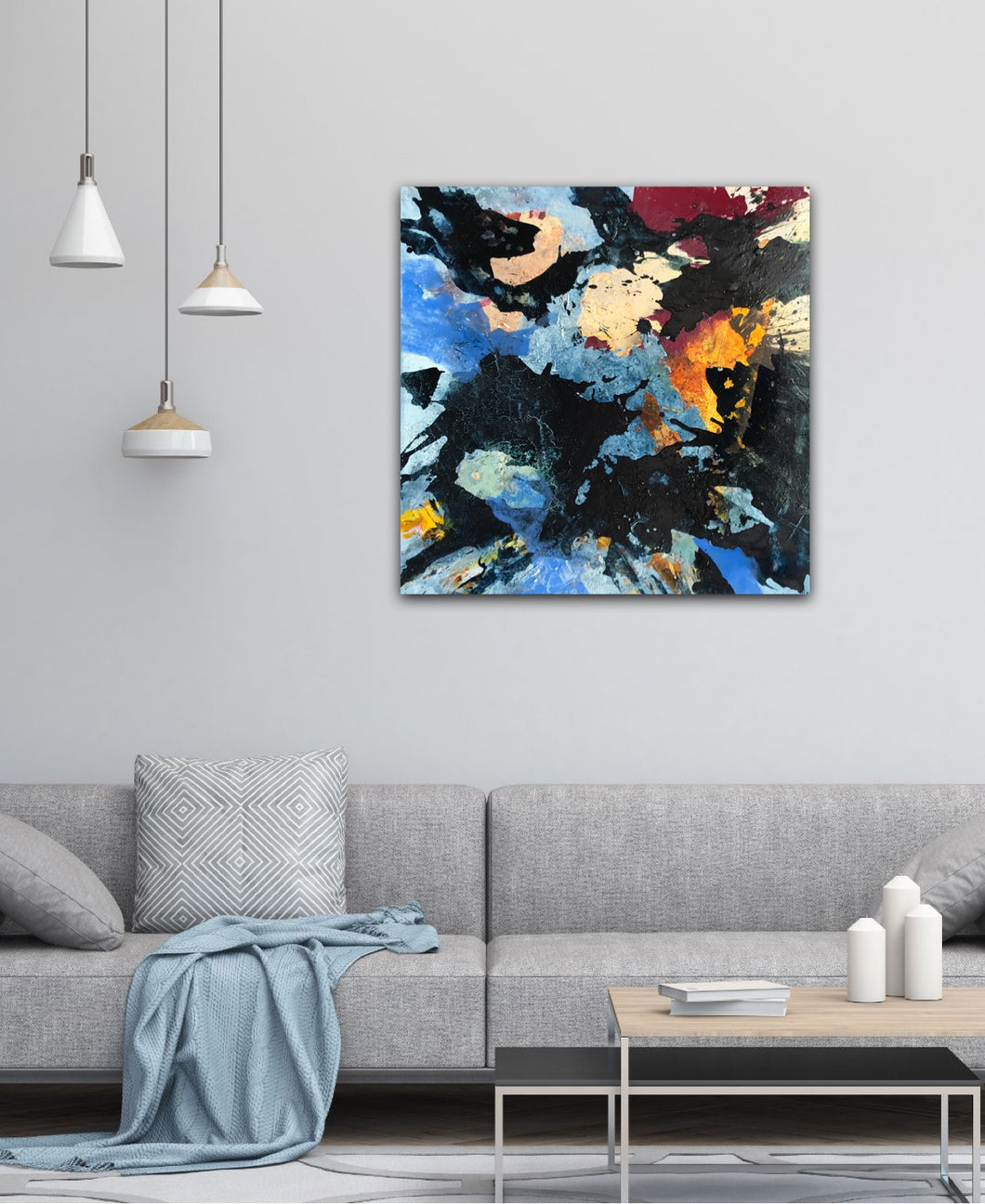 Abstract expressionist art in a contemporary living room with a grey couch  - modern artwork