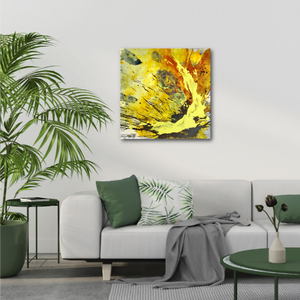 "Abstract expressionist art over a contemporary white sofa in a contemporary living room - modern artwork ""Skyfall"". A modern acrylic painting by abstract artist Anja Stemmer. Visit my Picture Shop for affordable art online: Buy abstract paintings, modern acrylic paintings and works of abstract art on canvas or paper online. My high quality abstract art designs are hand painted."
