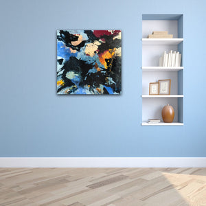 "Abstract expressionist art on a light blue colored wall with an in-built shelf- modern artwork ""Stormfront"". A modern acrylic painting by abstract artist Anja Stemmer. Visit my Picture Shop for affordable art online: Buy abstract paintings, modern acrylic paintings and works of abstract art on canvas or paper online. My high quality abstract art designs are hand painted."