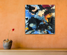 "Lade das Bild in den Galerie-Viewer, Abstract expressionist art on an orange colored wall - modern artwork ""Stormfront"". A modern acrylic painting by abstract artist Anja Stemmer. Visit my Picture Shop for affordable art online: Buy abstract paintings, modern acrylic paintings and works of abstract art on canvas or paper online. My high quality abstract art designs are hand painted."