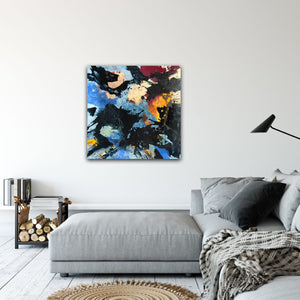 "Abstract expressionist art in a modern living room with grey couch - modern artwork ""Stormfront"". A modern acrylic painting by abstract artist Anja Stemmer. Visit my Picture Shop for affordable art online: Buy abstract paintings, modern acrylic paintings and works of abstract art on canvas or paper online. My high quality abstract art designs are hand painted."