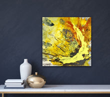 "Lade das Bild in den Galerie-Viewer, Abstract expressionist art on a dark blue colored wall with home decor accessories - modern artwork ""Skyfall"". A modern acrylic painting by abstract artist Anja Stemmer. Visit my Picture Shop for affordable art online: Buy abstract paintings, modern acrylic paintings and works of abstract art on canvas or paper online. My high quality abstract art designs are hand painted."