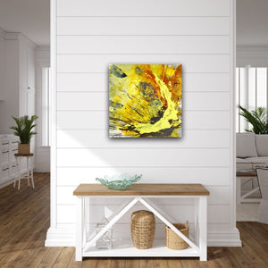"Abstract expressionist art, yelow painting over a modern wooden sideboard in a farmhouse style living room - modern artwork  ""skyfall"". A modern acrylic painting by abstract artist Anja Stemmer. Visit my Picture Shop for affordable art online: Buy abstract paintings, modern acrylic paintings and works of abstract art on canvas or paper online. My high quality abstract art designs are hand painted."