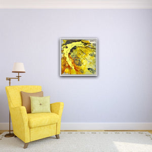 "Abstract expressionist art on a light blue colored wall with a yellow armchair - modern artwork ""Skyfall"". A modern acrylic painting by abstract artist Anja Stemmer. Visit my Picture Shop for affordable art online: Buy abstract paintings, modern acrylic paintings and works of abstract art on canvas or paper online. My high quality abstract art designs are hand painted."