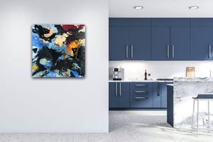 "Abstract expressionist art next to a blue kitchen - modern artwork ""Stormfront"". A modern acrylic painting by abstract artist Anja Stemmer. Visit my Picture Shop for affordable art online: Buy abstract paintings, modern acrylic paintings and works of abstract art on canvas or paper online. My high quality abstract art designs are hand painted."