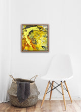 "Lade das Bild in den Galerie-Viewer, Abstract expressionist art in an entrance hall with a white chair and a basket- modern artwork ""Skyfall"". A modern acrylic painting by abstract artist Anja Stemmer. Visit my Picture Shop for affordable art online: Buy abstract paintings, modern acrylic paintings and works of abstract art on canvas or paper online. My high quality abstract art designs are hand painted."